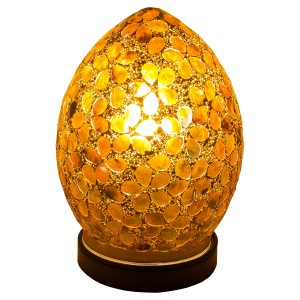 Mini Mosaic Glass Egg Lamp - Brown Flower