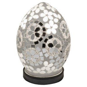 Mini Mosaic Glass Egg Lamp - Mirrored Art Deco