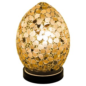 Mini Mosaic Glass Egg Lamp - Autumn Gold Flower