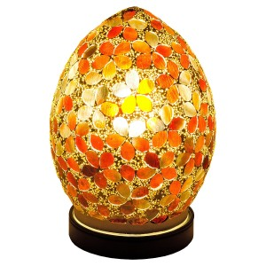 Mini Mosaic Glass Egg Lamp - Amber Flower