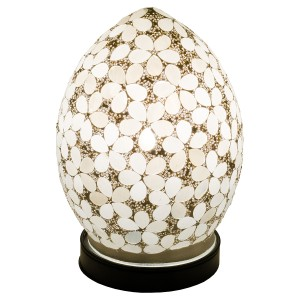 Mini Mosaic Glass Egg Lamp - Opaque White Flower
