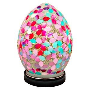 Mini Mosaic Glass Egg Lamp - Pink Flower