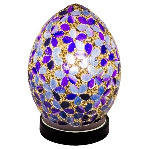 Mini Mosaic Glass Egg Lamp - Purple Flower