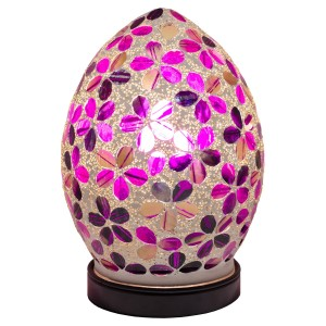 Mini Mosaic Glass Egg Lamp - Purple Tile Flower