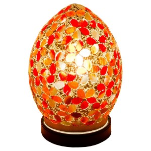 Mini Mosaic Glass Egg Lamp - Red Flower