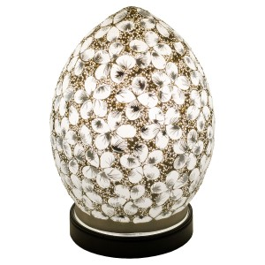 Mini Mosaic Glass Egg Lamp - White Flower