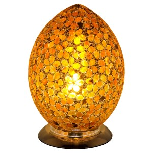 Mosaic Glass Egg Lamp - Brown Flower