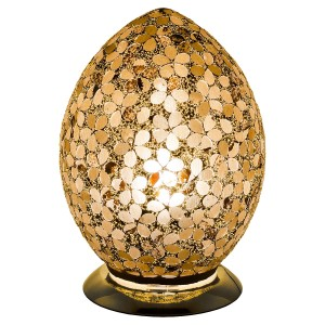 Mosaic Glass Egg Lamp - Autumn Gold Flower