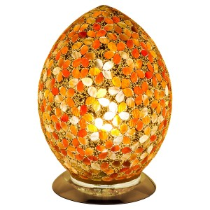 Mosaic Glass Egg Lamp - Amber Flower