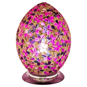 Mosaic Glass Egg Lamp - Purple Tile Flower