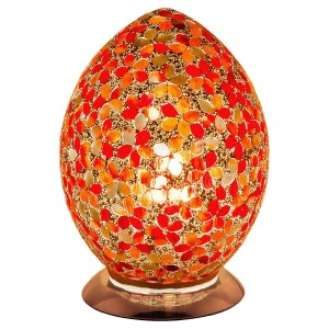 Mosaic Glass Egg Lamp - Red Flower