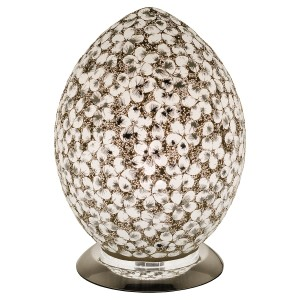 Mosaic Glass Egg Lamp - White Flower