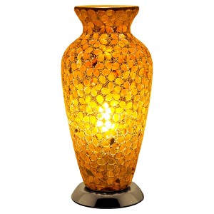 Mosaic Glass Vase Lamp - Brown Flower