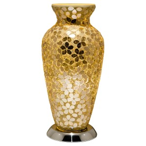 Mosaic Glass Vase Lamp - Gold Flower