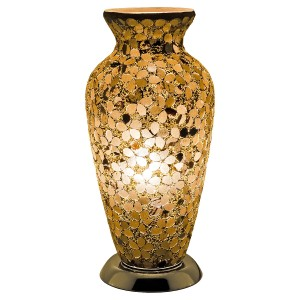Mosaic Glass Vase Lamp - Autumn Gold Flower