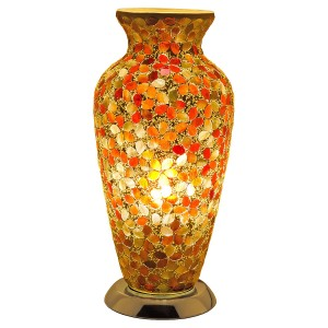 Mosaic Glass Vase Lamp - Amber Flower