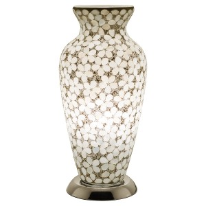 Mosaic Glass Vase Lamp - Opaque White Flower