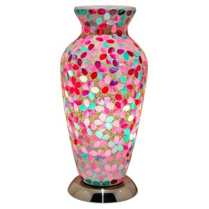 Mosaic Glass Vase Lamp - Pink Flower