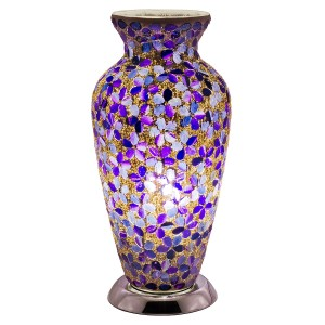 Mosaic Glass Vase Lamp - Purple Flower