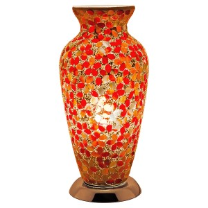 Mosaic Glass Vase Lamp - Red Flower