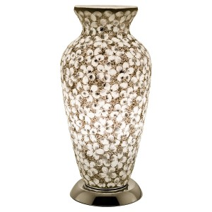 Mosaic Glass Vase Lamp - White Flower