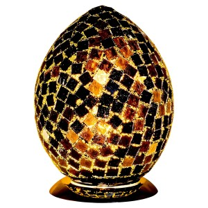 Mosaic Glass Egg Lamp - Black Tile