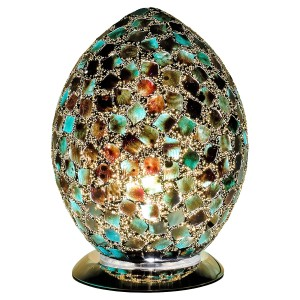 Mosaic Glass Egg Lamp - Dark Green