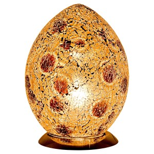 Mosaic Glass Egg Lamp - Autumn Gold