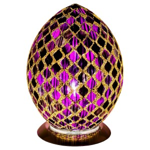 Mosaic Glass Egg Lamp - Purple Tile