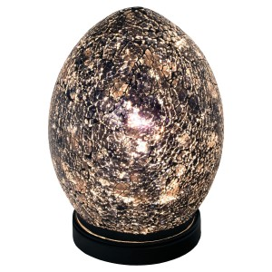 Mini Mosaic Glass Egg Lamp - Black
