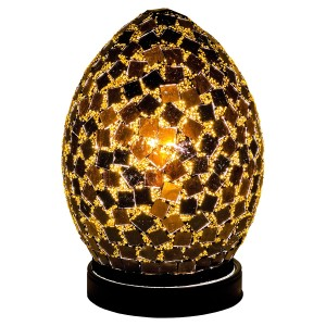 Mini Mosaic Glass Egg Lamp - Black Tile