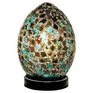 Mini Mosaic Glass Egg Lamp - Dark Green
