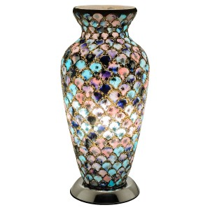 Mosaic Glass Vase Lamp - Blue & Pink Tile