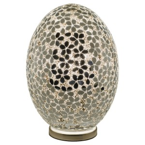 Large Mosaic Glass Egg Lamp - Mirrored Flower