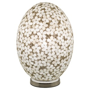 Large Mosaic Glass Egg Lamp - Opaque White Flower
