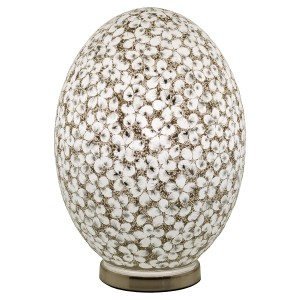 Large Mosaic Glass Egg Lamp - White Flower