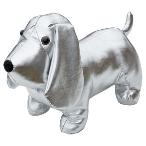 Silver Doggy Door Stop Plush