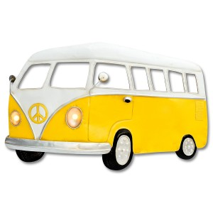 Yellow Camper Van 3D Metal Wall Art