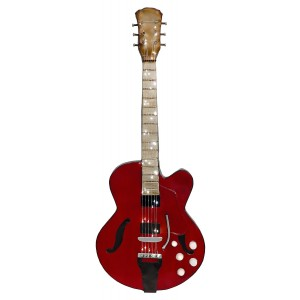 Red Guitar 3D Metal Wall Art
