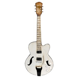 White Guitar 3D Metal Wall Art