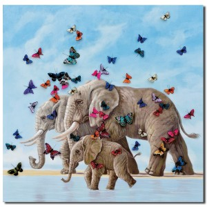 Elephant & Butterfly 3D Canvas Wall Art