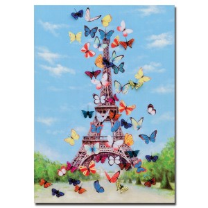 Eiffel Tower & Butterfly 3D Canvas Wall Art