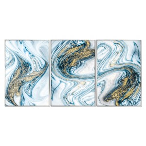 Framed Acrylic Pictures - Aqua Marble (Set of 3)