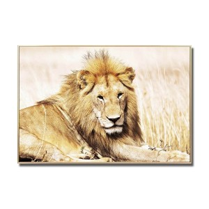 Golden Lion Glass Art Picture