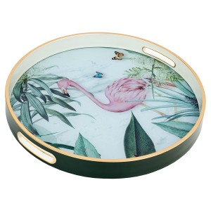 Circular Tray With Flamingo Design