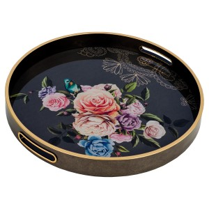 Circular Tray With Flowers Design