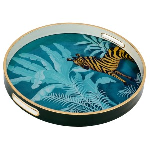 Circular Tray With Zebra Design