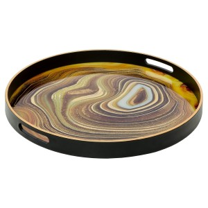 Circular Black Tray With Sand Design - Large