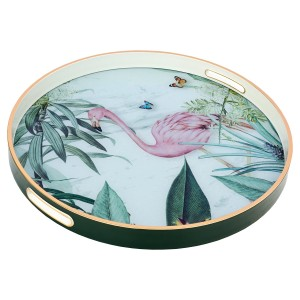 Circular Tray With Flamingo Design - Large