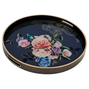 Circular Tray With Flowers Design - Large